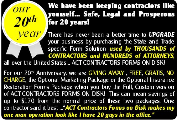 ACT Contractors Forms 20 year anniversary sale