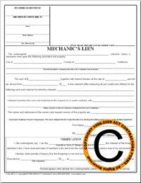 California mechanics Lien Form for CA Construction contractors