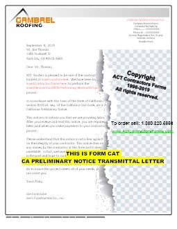 CA PRELIMINARY NOTICE TRANSMITTAL LETTER
