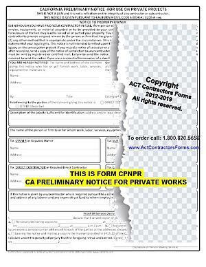 CALIFORNIA PRELIMINARY NOTICE, 20-DAY NOTICE, PRELIM FOR PUBLIC WORKS