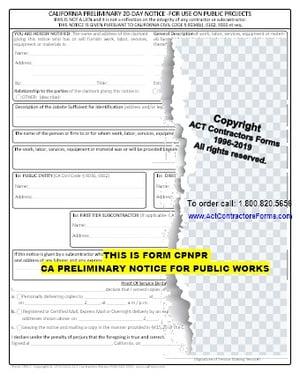 CALIFORNIA PRELIMINARY NOTICE, 20-DAY NOTICE, PRE-LIM FOR PUBLIC WORKS