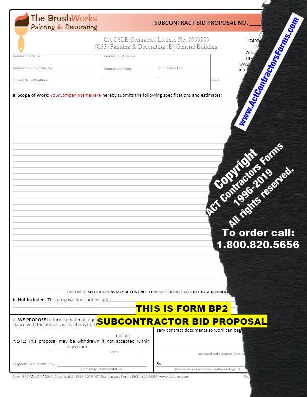 subcontractor bid proposal template