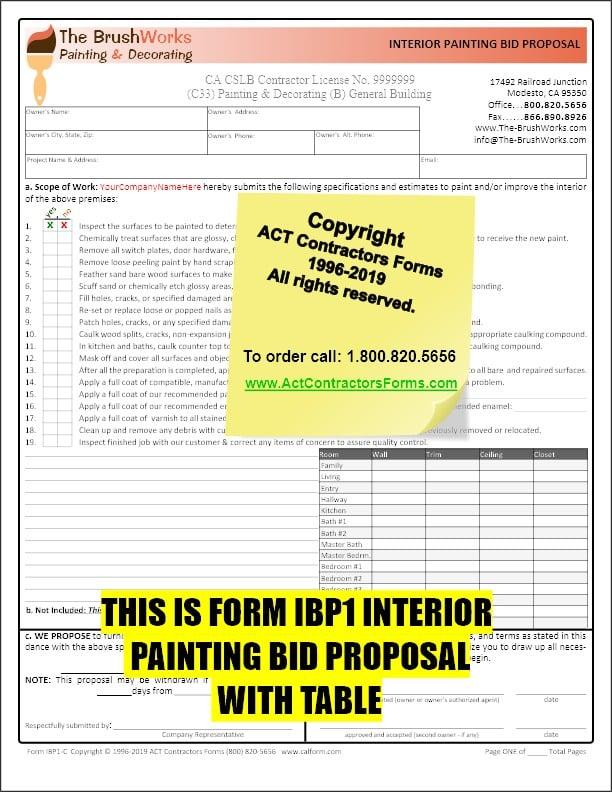 Painting Contractor Bid Estimate Forms