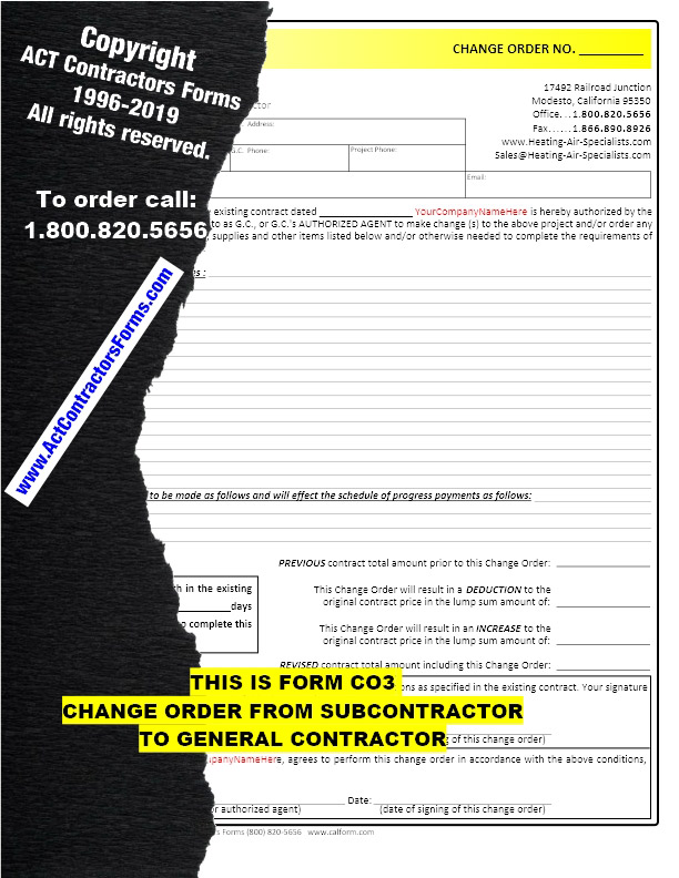 Construction Change Order Forms For Contractors And Subcontractors