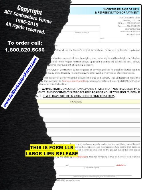 Labor Lien Release Form