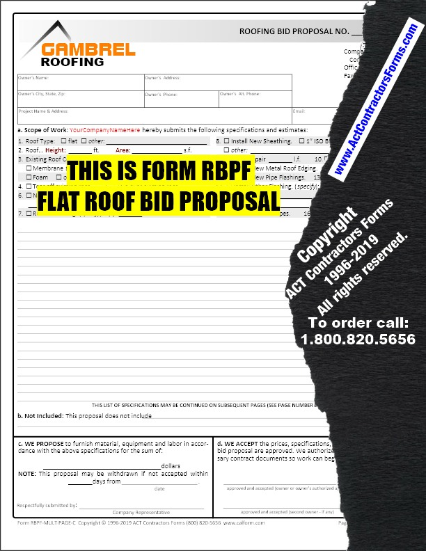 It's just a picture of Free Roofing Estimate Forms Printable regarding general contractor